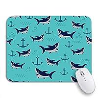 ROSECNY 可愛いマウスパッド ブルーかわいいサメ水泳パターン漫画とアンカーカラフルな滑り止めゴムバッキングコンピュータマウスパッドノートブックマウスマット