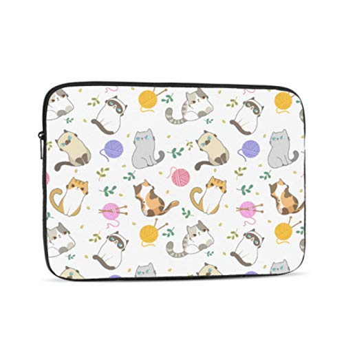 13 Inch Laptop Case Cute Cat Knitting Yarn Ball Accessories for MacBook Pro Multi-Color & Size Choices 10/12/13/15/17 Inch Computer Tablet Briefcase Carrying Bag