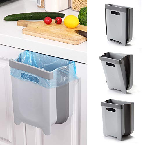 SheMarie Hanging Collapsible Trash Can - 9L Wall Mounted Foldable Waste Bin for Kitchen Cabinet Door - Quickly Clean Counter, Sink, Bathroom - RV, Car, Camping Folding Garbage Basket (Gray)