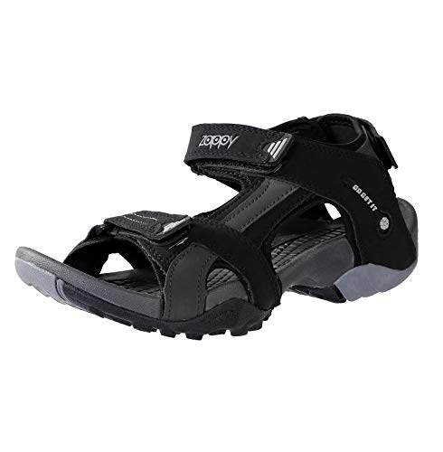 Zappy Mens & Boys Faux Leather Black and Grey Sandals,Casual Sandals,Sport Sandals,Walking Sandals,Cricket Sandals,Floatters,Football Sandals and Lightweight Sandals Floatters