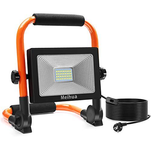 MEIHUA 30W spot portable Projecteur LED chantier Exterieur pivotant avec Prise 3400LM, lampe baladeuse de sécurité 220V, luminaire led câble de 5m IP66 étanche pour garages, ateliers et jardins