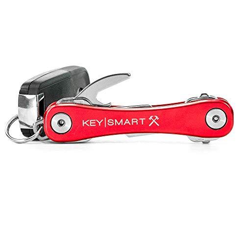 KeySmart Rugged - Llavero Multiherramienta con abridor y Clip de Bolsillo (hasta 14 Llaves, Rojo)