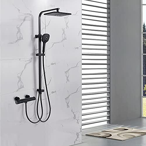 Auralum Schwarzem Duschset Duschsysteme mit 3 Strahlarten Handbrause,Einstellbare Duschstange und Duschkopf Duschstangeset aus Rostfreiem Edelstahl