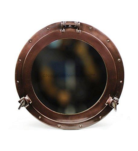Antiguo montado en la pared de cobre de coque náutico Vintage de aluminio espejo ojo de buey ventana | de la | barco pirata marítima de la decoración | Nagina de temática náutica. Internacional