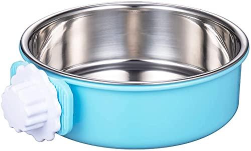 Comedero para mascotas de acero inoxidable, doble cuenco colgante para gato, jaula para perro, jaula de agua (azul)