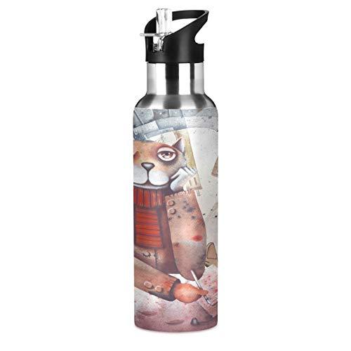 Lindo Arte Moda Gato Gatito Botella de Agua Deportiva con Pajita Acero Inoxidable, 600ML Botellas Termica Sin BPA para Niños Deporte Gimnasio Ciclismo Escuela