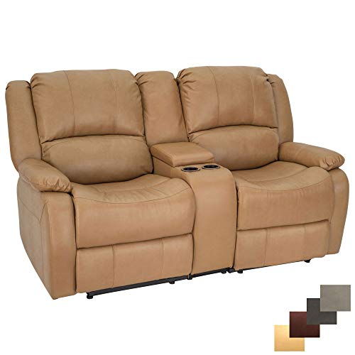 RecPro Charles Collection | 67' Double Recliner RV Sofa & Console | RV Zero Wall Loveseat | Wall Hugger Recliner | RV Theater Seating | RV Furniture | RV Sofa | RV Sofa Bed | RV Couch | Toffee