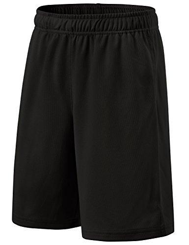 TM-KBS01-BLK_Small Tesla Boy's Active Shorts Sports Performance HyperDri II With Pockets KBS01
