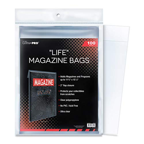 Ultra PRO Life Magazine 11-5/8' x 15-1/8' Bags (100 Count Pack), Small, Clear