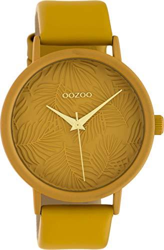 Oozoo Damenuhr mit Lederband 42 MM Colours of Summer Palmen Zifferblatt Unicolor Ocker C10172