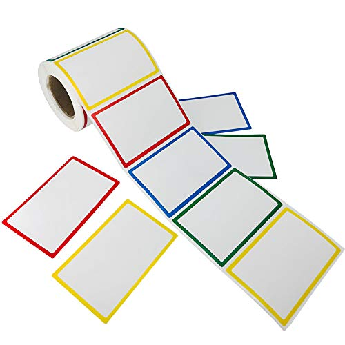 SUNHE 300pcs Plain Name Tag Labels Colorful Border Name Tag Stickers, 3.5