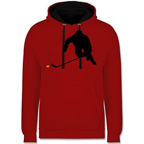 Shirtracer Eishockey - Eishockey Sprint - S - Rot/Schwarz - JH003_Hoodie_Unisex - JH003 - Hoodie zweifarbig und Kapuzenpullover für Herren und Damen