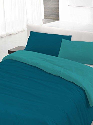 Italian Bed Linen Set Copripiumino Matrimoniale, Petrolio/Verde 250 x 200 cm