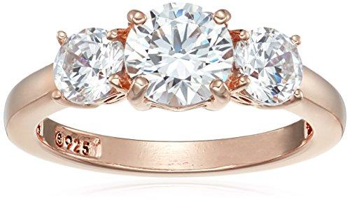 Anello in argento Sterling placcato platino o oro con 3 pietre rotonde realizzato con zirconi Swarovski,Argento placcato in oro rosa,Size 8