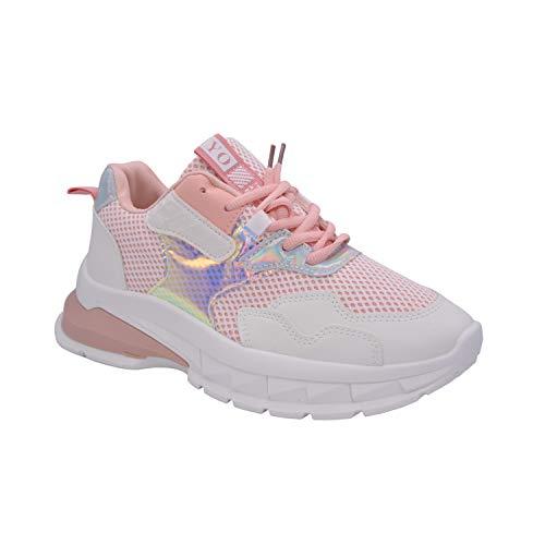Zapatillas de plataforma alta CucuFashion para mujer – Zapatillas de moda gruesas para mujer, ligeras y gruesas de tacón alto de cuña para mujer, zapatillas de mujer, talla 36 – 8, color Rosa, talla 37 EU