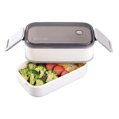 Bento Lunch Box per Adulti e Bambini,Porta Pranzo Ermetico a 2 Scomparti,1600ML-Microonde e Lavastoviglie - No BPA (bianco)