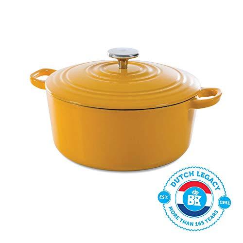 BK Cookware H6075.528 Nature BK Bourgogne Schmortopf 28 cm/6.7L, Emailliertes Gusseisen, Deckel mit Tropfringen, Induktions-/Backofengeeignet, Spülmaschinenfest, Sonniges Gelb