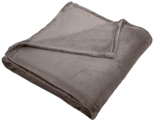 Amazon Brand – Pinzon Velvet Plush Blanket - Full or Queen, Grey