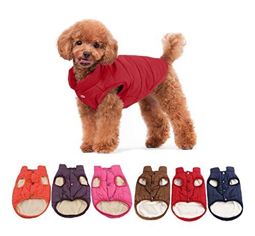 Komate Chaqueta Polar de Invierno para Perros Cómodo Abrigo Suave y cálido para Clima frío con Nieve Chaqueta Cortavientos para Perros y Mascotas (XL (Pecho 63 cm), Rojo)