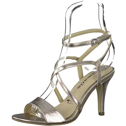 Tamaris Damen Sandalen 28088-34, Frauen Riemchensandale, feminin elegant Women's Woman Abend Feier Sandalette Absatz,Light Gold,41 EU / 7.5 UK