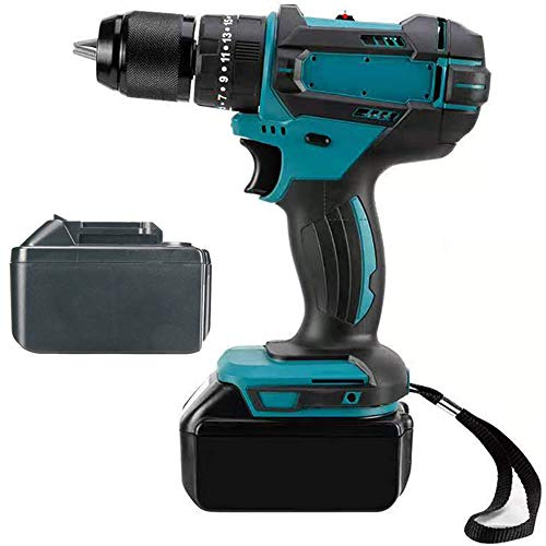 Cordless Driver, 21V Impact Drill with 2-Speed 20+3 Torque Adjustment LED Light Forward/Reverse Switching 1/2', Multifunction Cordless Drill, for DIY Project, Drilling, Screwing,2 Battery