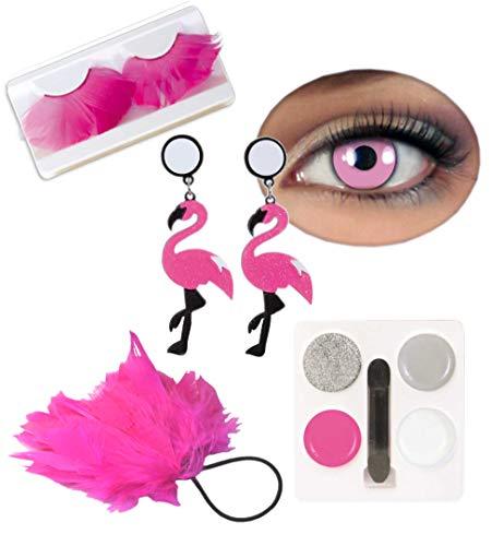 KarnevalsTeufel Zubehör-Set Flamingo 5-teilig Kontaktlinsen, Wimpern, Ohrringe, Schminke und Haargummi mit Federn in pink Paradiesvogel Accessoires