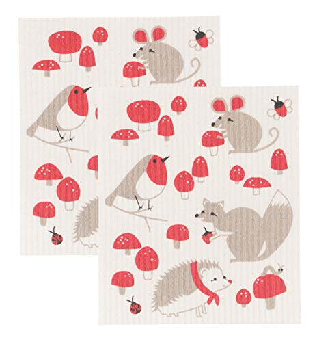 Now Designs Swedish Dishcloth, Set of Two, Toadstool Time, Set of 2, 2 Count