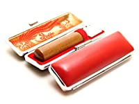 「なつめ印鑑16.5mm×60mm牛皮ケース(赤)付き」 横彫り 古印体