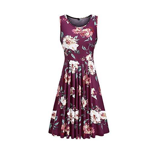 Damen Kleid Sommer Ärmellos Gefaltet Swing Kleider Blumenmuster Tunika Tshirt MiniKleid Sommerkleid für Damen Rundhals Locker Kleid Strandkleid