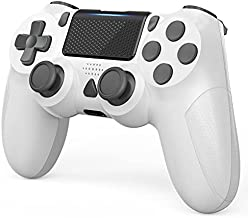YCCTEAM Controller Compatible with PS-4, Wireless Game Controller with Built-in 1000mAh Rechargeable Battery, Gyro and Speaker Compatible with PS-4/Slim/Pro Console Updated Version (White)