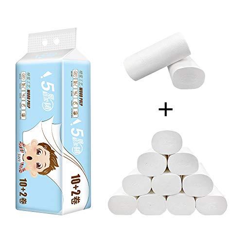 Uranbee Toilettenpapier ohne Hülse 12 Rollen Klopapier 5-lagig Zellstoff, Weich und Hautfreundlich, Toilettenpapierrollen Vorratspack