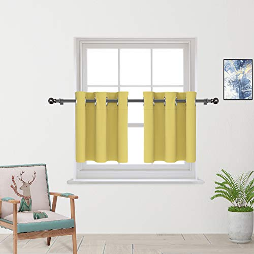 """Yellow Tier Curtains 24 inch Room Darkening Kitchen Tiers Bathroom Short Curtain Triple Weave Small Cafe Curtains Half Window Treatment Set 2 Panels Grommet Top 24"""""""