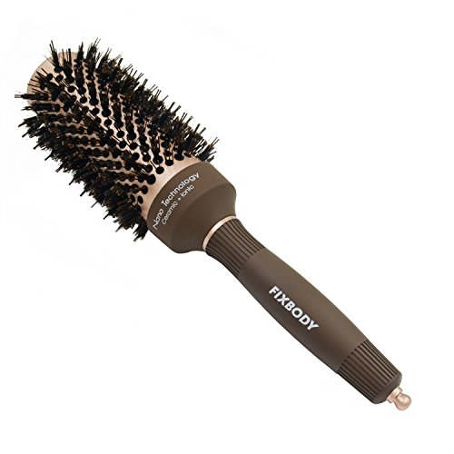 FIXBODY Round Hair Brush with Boar Bristles, Nano Thermal Ceramic, Ionic Tech and Anti-Static, Roller Hairbrush for Blow Drying, Curling, Straightening (3 inch, Barrel 1.7 inch)