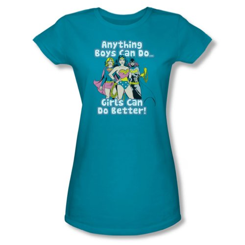 Justice League - Mädchen Can Do Better junge Frauen T-Shirt in türkis, X-Large, Turquoise