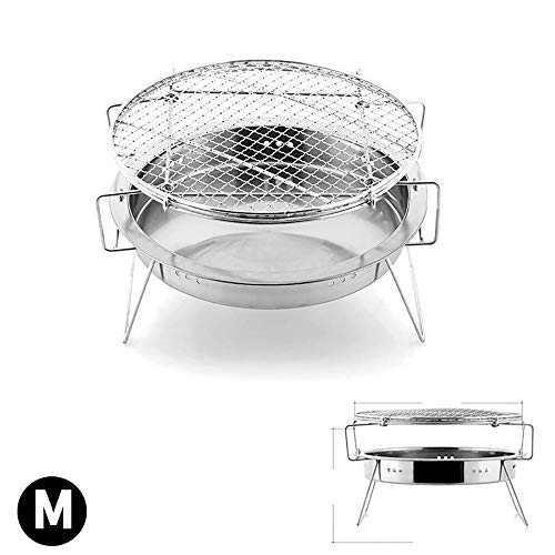 HJG Pop Up Bonfire Fire Pit Outdoor Mini Barbecue Grill,Portable BBQ Camping Backpakcing Folding Wood Burning Solo Stove for Backyard Outdoor Smokeless,M