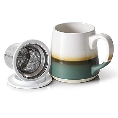 DOWAN Tea Cup with Infuser, 16 OZ Steeping Tea Cups Tea Mug, Tea Infuser Cup with Infuser and Lid, Green
