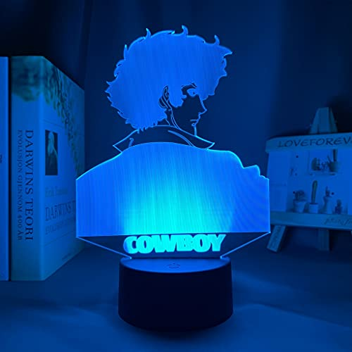 Luz LED Anime Cowboy Bebop Spike Spiegel para decoración de dormitorio de niños Luz de noche Habitación de regalo de cumpleaños Lámpara 3d Cowboy Bebop Manga