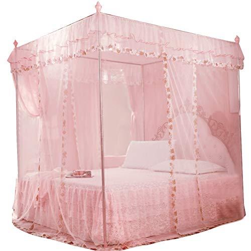Liyeehao Moskitonetz 4 Eckpfostenbett Himmelbett Vorhang für Mädchen & Erwachsene 3 Moskitonetz öffnen Luxus Prinzessin Schlafzimmer Dekoration Zubehör(Pink S.)