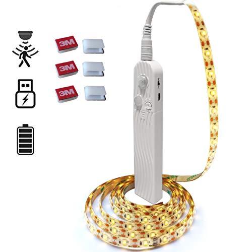 Wisepoch LED-Lichtleiste mit USB/batteriebetrieben, Bewegungsmelder, Schranklicht, 120 LEDs, wasserdicht, USB-Lichtleiste (warmweiß, 2 m)