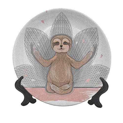 Plato decorativo de cerámica de 25,4 cm, diseño de perezoso con flores de loto y asana, ideal para eventos de lujo, cenas, bodas, etc.