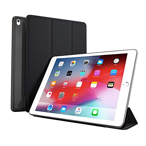 CangHua Trifold Magnetic Case Compatible with iPad Air 3 10.5'' 2019,iPad Pro 10.5'' 2017, TPU Soft Silicone Stand with Auto Sleep/Wake, Microfiber Lining, Translucent Frosted Back Cover-Black
