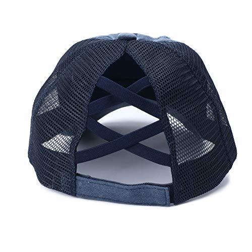FOReverweihuajz Universal Retro Anti Sun Ripped Mesh Pferdeschwanz Criss Cross Wide Brim Baseball Cap Verstellbarer Hut