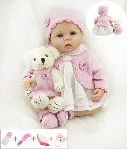 ZIYIUI 22 Pulgadas 55cm Muñecas Reborn Baby Dolls Bebe Reborn Niña Suave Vinilo de Silicona Lifelike Ojos Abiertos Girl Bebé Recién Nacido Magnético Juguete