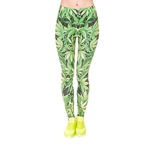 Hanessa Frauen Leggins Bedruckte Leggings Geschenk zu Weihnachten Hose Frühling Sommer Kleidung Gras Weed Dope Marihuana Grün L120