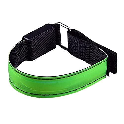 LED-Armband Reflektierendes Reflektorband Handschlaufe Leuchtarmband Verstellbares Lauflicht LED-Laufsicherheitslicht Reflektor Armband zum Joggen Laufen Radfahren Gehen (Grün)