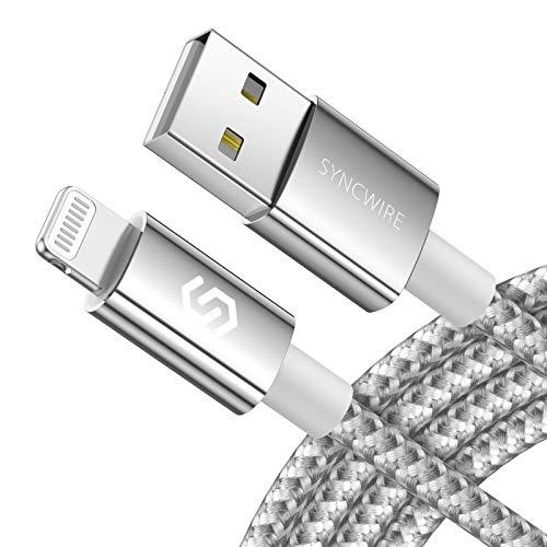 Syncwire Câble iPhone Chargeur 2M - Nouvelle Version 2020 [Certifié Apple Mfi |Durable Nylon Tressé |Charge Rapide] Cordon pour iPhone 12 Pro Max/11/XS/XR/8 Plus/7/6s/SE 2/iPad Air/Mini - Argent