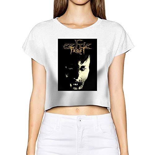 EUBCS Women Funny Printing with Celtic Frost Monotheist Crop Top Shirt Tees XL White