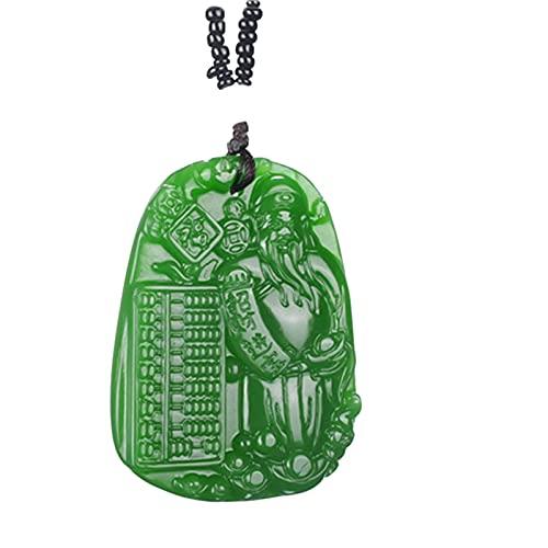 Revilium Collar con Colgante De Dios De La Riqueza De Jade Verde Natural Chino, Tallado A Mano, Amuleto De Joyería De Jadeíta, Amuleto para Mujeres Y Hombres