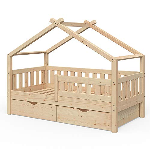 VitaliSpa Design Kinderbett 160x80 Babybett Jugendbett 2 Schubladen Lattenrost (Natur)