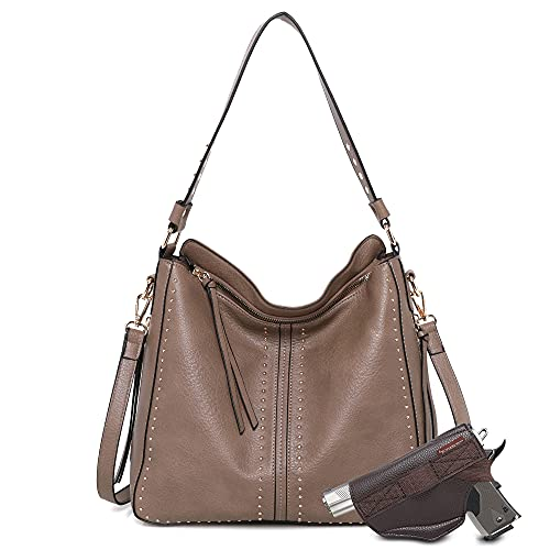 Montana West Tote Bag for Women Large Concealed Carry Purses and Handbags Faux Leather Hobo Bags Shoulder Bag with Crossbody Strap and Gun Holster MWC-G1001KH
